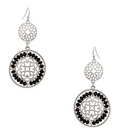 Erica Lyons® Silvertone Double Drop Disk Pierced  Earrings