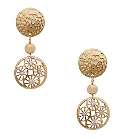 Erica Lyons® Goldtone Filigree Disc Drop Clip Earrings
