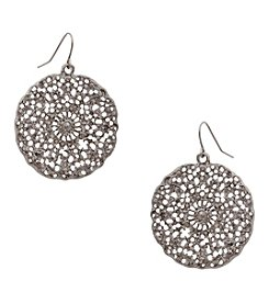 Erica Lyons® Silvertone Filigree Disk Pierced  Earrings