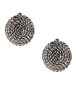 Erica Lyons® Silvertone Wire Dome Clip  Earrings