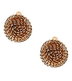 Erica Lyons® Goldtone Wire Dome Clip Earrings