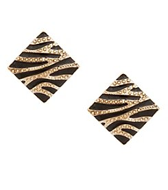 Erica Lyons® Goldtone Animal Print Square Clip  Earrings