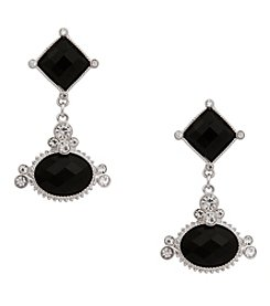 Erica Lyons® Silvertone Double Drop Clip Earrings