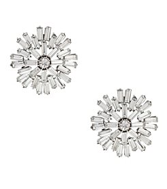 Erica Lyons® Silvertone Stone Burst Button Pierced  Earrings