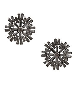 Erica Lyons® Hematite Tone  Stone Burst Button Pierced  Earrings