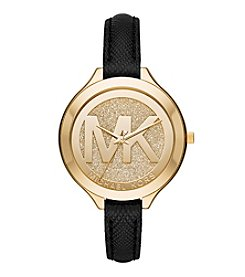 Michael Kors® Women's Goldtone Slim Runway Leather Strap Watch