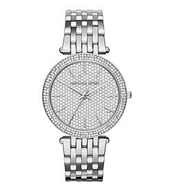 Michael Kors® Women's Silvertone Darci Watch with Pave Dial