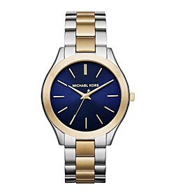 Michael Kors® Women's Two Tone Slim Runway Watch with Navy Dial