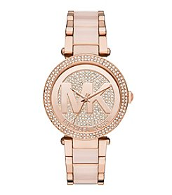 Michael Kors® Women's Rose Goldtone Parker Watch With Glitz Logo Dial