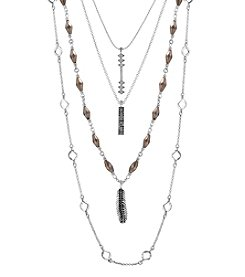 Lucky Brand® Silvertone Lucky Layer Feather Necklace