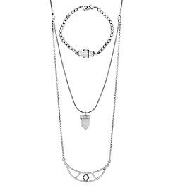 Lucky Brand® Lucky Layer Silvertone Bracelet Charm Necklace