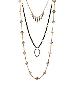 Lucky Brand Goldtone Lucky Layer Leather Necklace