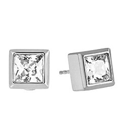 Michael Kors® Silvertone Clear Park Avenue Earrings