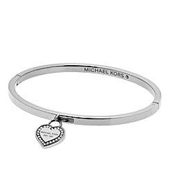 Michael Kors® Silvertone Clear MK Logo Hinge Closure Bracelet