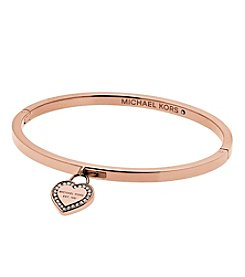 Michael Kors® Rose Goldtone Clear MK Logo Hinge Closure Bracelet