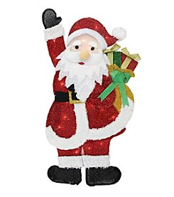 Lighted Tinsel Waving Santa Claus with Gifts Christmas Yard Decoration