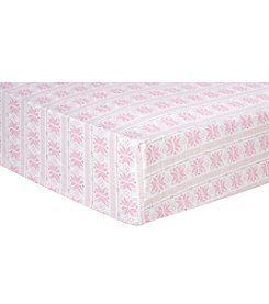 Trend Lab Pink Fair Isle Flannel Crib Sheet