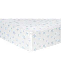 Trend Lab Blue Snowflakes Flannel Crib Sheet