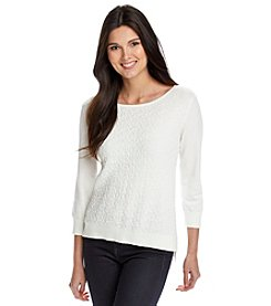 Cable & Gauge® Textured Crew Neck Sweater