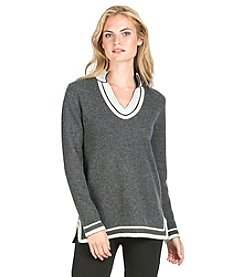PLY Cashmere® Long Sleeve Mandarin Neck Tunic with Side Slits