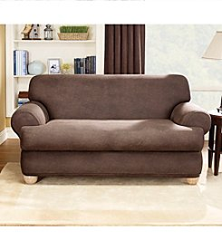 Sure Fit® Stretch Faux Leather Sofa & Loveseat Separate Seat T-Cushion Slipcovers