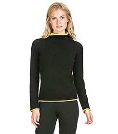PLY Cashmere® Long Sleeve Turtleneck Double Layer Trim Pullover