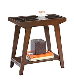 Ore International™  Traditional Glass Accented End Table