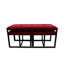 ORE International Suede Tufted Metal Bench with Two Seatings