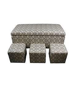 Ore International™ Geometric Nail Button Bench with Three Seatings