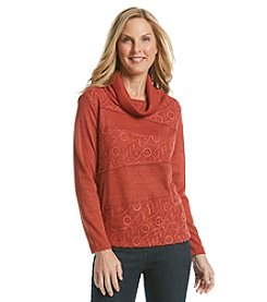 Alfred Dunner® El Dorado Spliced Lace Textured Knit Top