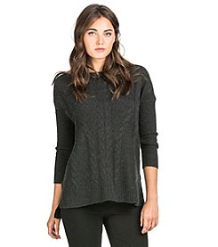 PLY Cashmere® Cable Ribbed Crew Neck Pullover