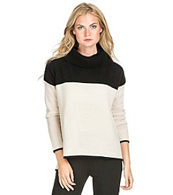 PLY Cashmere® Oversized Cowl Neck Colorblocked Pullover