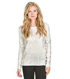 PLY Cashmere® Crew Neck Foil Printed Sweater