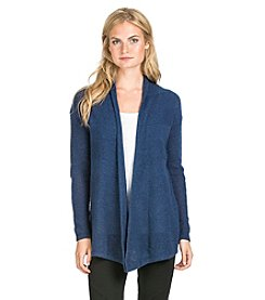 PLY Cashmere® Open Front Pointelle Stitch Cardigan