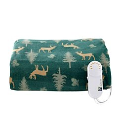 LivingQuarters Spruce Deer Heated Comfort Knit Throw