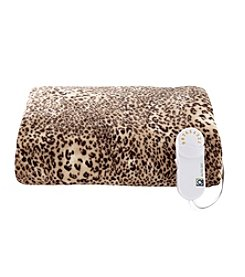 LivingQuarters Cheetah Heated Comfort Knit Throw