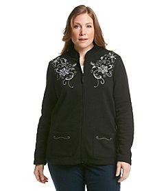 Breckenridge® Plus Size Mandarin Collar Embellished Fleece Cardigan