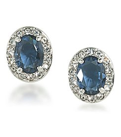 Carolee® Silvertone Carnegie Hall Blue and Clear Crystal Stud Pierced Earrings