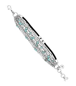 Lucky Brand® Silvertone Mini Lucky Layer Turquoise Bracelet