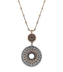 Lucky Brand® Two Tone Pave Pendant Necklace