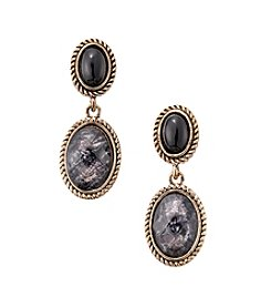 Napier® Goldtone and Patterned Jet Bead Double Drop Earrings