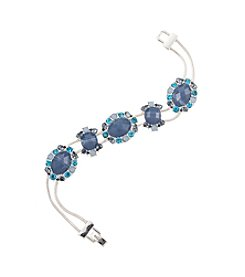 Napier® Silvertone and Blue Bead Slider Bracelet in Gift Box