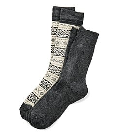 Relativity® 2-Pack Diamond Fair Isle Crew Socks