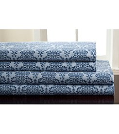 Elite Home Products Winter Nights Damask Flannel Sheet Set