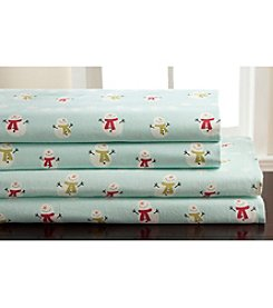 Elite Home Products Winter Nights Snowman Flannel Sheet Set