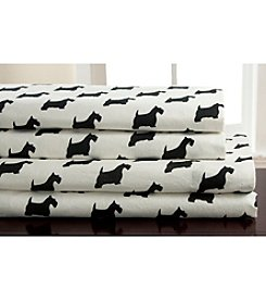 Elite Home Products Winter Nights Scotty Dog Flannel Sheet Set
