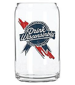 30 Watt Drink Wisconsinibly Blue Ribbon Beer Can Glass