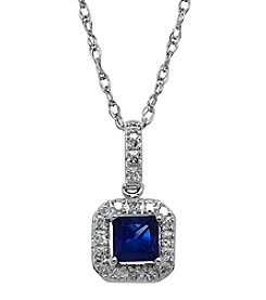 Sapphire And .10ct Diamond Pendant In 10k White Gold