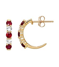 Ruby And White Sapphire Hoop Earrings In 10k Yellow Gold