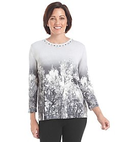 Alfred Dunner® Alpine Lodge Tree Scenic Sweater